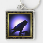 Raven Silhouette in Moonlight Keychains