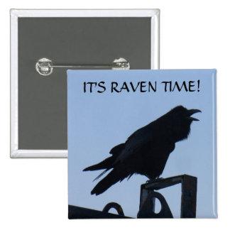 Raven Silhouette on Unalaska Island Pinback Button