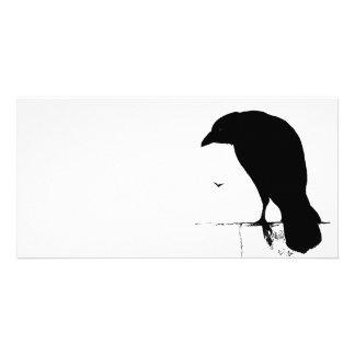 Raven Silhouette - Vintage Goth Ravens & Crows Card