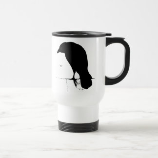 Raven Silhouette - Vintage Goth Ravens & Crows 15 Oz Stainless Steel Travel Mug