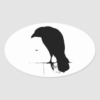 Raven Silhouette - Vintage Goth Ravens & Crows Oval Sticker