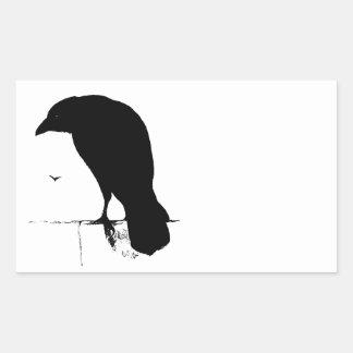 Raven Silhouette - Vintage Goth Ravens & Crows Rectangular Sticker