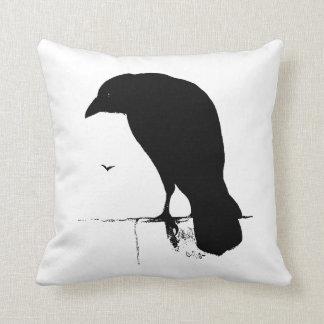Raven Silhouette - Vintage Goth Ravens & Crows Throw Pillow