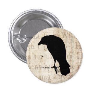 Raven Silhouette - Vintage Retro Ravens & Crows 1 Inch Round Button