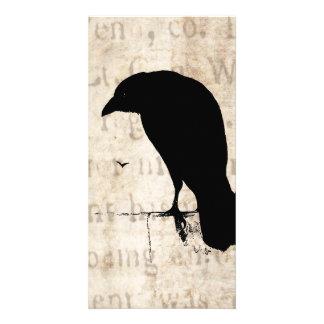 Raven Silhouette - Vintage Retro Ravens & Crows Card