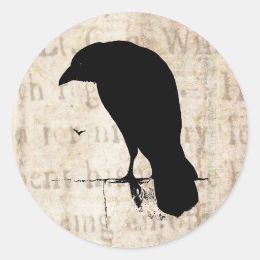 Raven Silhouette - Vintage Retro Ravens & Crows Classic Round Sticker