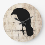Raven Silhouette - Vintage Retro Ravens & Crows Clocks