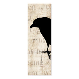 Raven Silhouette - Vintage Retro Ravens & Crows Double-Sided Mini Business Cards (Pack Of 20)