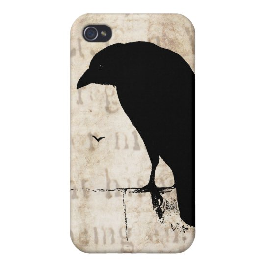 Raven Silhouette - Vintage Retro Ravens & Crows iPhone 4/4S Cover