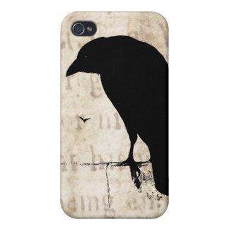 Raven Silhouette - Vintage Retro Ravens & Crows iPhone 4 Cases