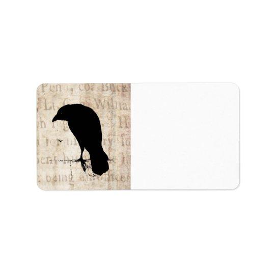 Raven Silhouette - Vintage Retro Ravens & Crows Label