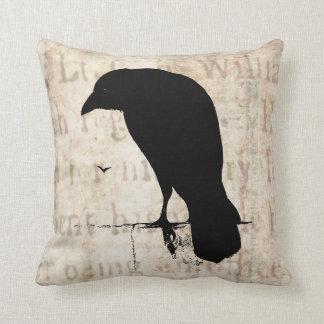 Raven Silhouette - Vintage Retro Ravens & Crows Throw Pillow