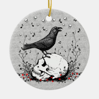 Raven Sings Song of Death on Skull Illustration Ceramic Ornament