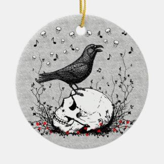 Raven Sings Song of Death on Skull Illustration Ceramic Ornament