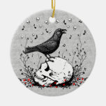 Raven Sings Song of Death on Skull Illustration Double-Sided Ceramic Round Christmas Ornament
