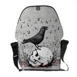 Raven Sings Song of Death on Skull Illustration Messenger Bags