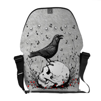 Raven Sings Song of Death on Skull Illustration Messenger Bag
