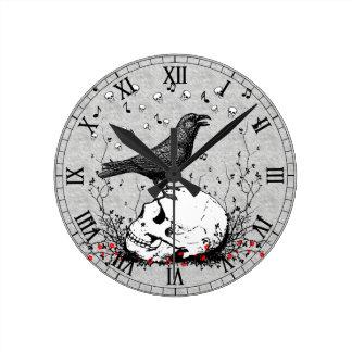 Raven Sings Song of Death on Skull Illustration Round Clock
