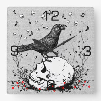 Raven Sings Song of Death on Skull Illustration Square Wall Clock