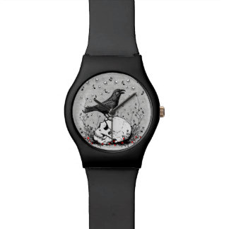 Raven Sings Song of Death on Skull Illustration Wristwatch