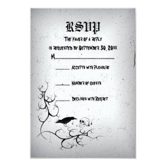 Raven, skull and ornate corner Gothic wedding RSVP Card