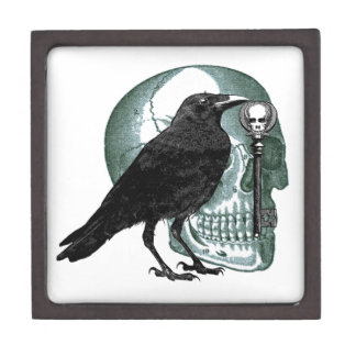 Raven Skull And Skeleton Key Gift Box