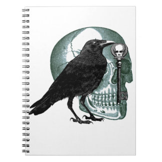 Raven Skull And Skeleton Key Notebook