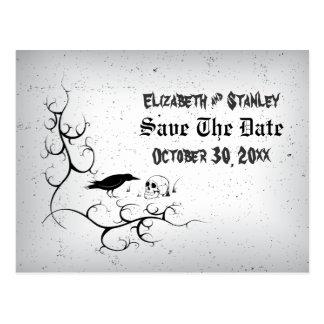 Raven skull Halloween Gothic wedding Save the Date Postcard