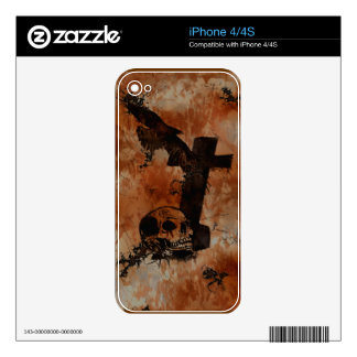 Raven, Skull, Headstone, Spider Gothic iPhone Skin Decals For The iPhone 4S