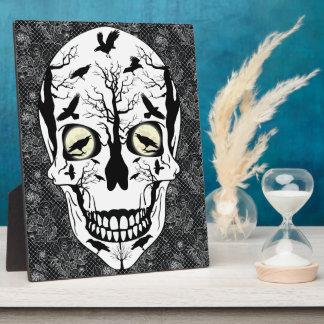 Raven Skull Picture Home Horror Decor Plaque