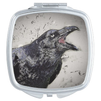 Raven Squawking Compact Mirror