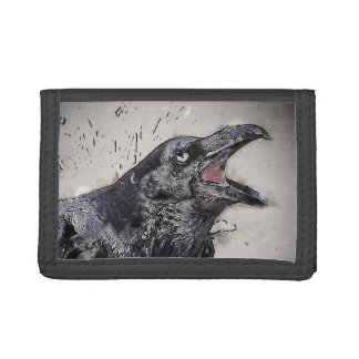 Raven Squawking Trifold Wallets