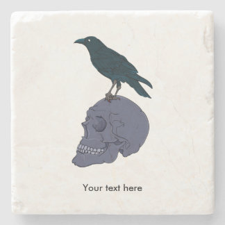 Raven Standing On A Skull Stone Coaster