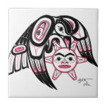 """Raven Stealing the Sun Ceramic Tile<br><div class=""""desc"""">This is a custom design from my Father,  Harvey J. Nelson who is of the Tsimshian Alaskan Native culture.</div>"""