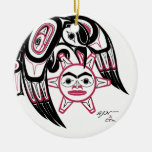 Raven Stealing the Sun Double-Sided Ceramic Round Christmas Ornament