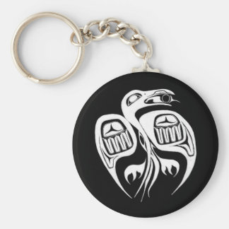 raven steals the sun , or is it the moon? basic round button keychain