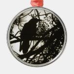 Raven Steampunk Round Metal Christmas Ornament
