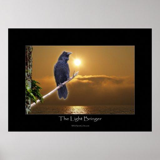 Raven & Sunrise Art Poster