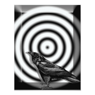 Raven Target in Black and White Halloween 4.25x5.5 Paper Invitation Card