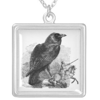 Raven & the Knight Square Pendant Necklace