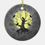 Raven Tree with Moon Ceramic Ornament