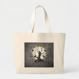 Raven Tree with Moon Large Tote Bag