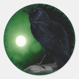 Raven Under the Green Moon Classic Round Sticker