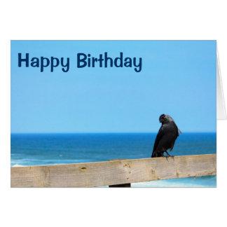 Raven Watching Happy Birthday Card Greeting Card