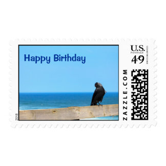 Raven Watching Happy Birthday Stamp