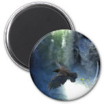 RAVEN & WATER FALL Nature Gifts 2 Inch Round Magnet