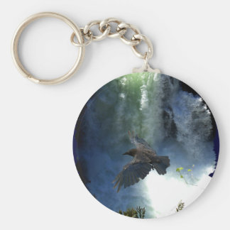 RAVEN & WATER FALL Nature Gifts Basic Round Button Keychain