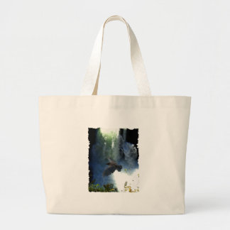 RAVEN & WATER FALL Nature Gifts Large Tote Bag