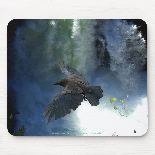 RAVEN & WATER FALL Nature Gifts Mousepad