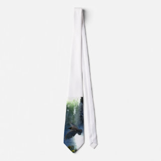 RAVEN & WATER FALL Nature Gifts Neck Tie